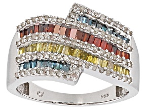 Blue, Red, Yellow, And White Diamond Rhodium Over Sterling Silver Ring 1.00ctw