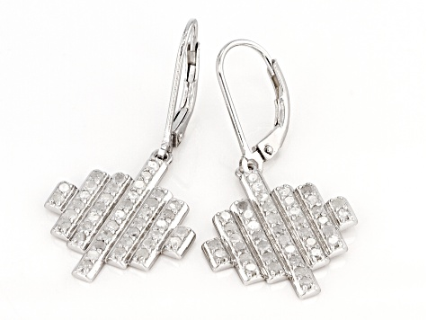 White Diamond Rhodium Over Sterling Silver Dangle Earrings 1.00ctw