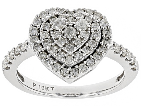 White Diamond 10K White Gold Ring 0.75ctw