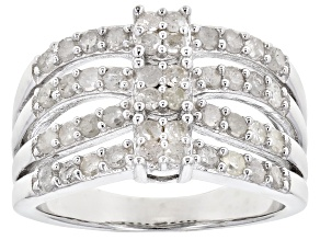 White Diamond Rhodium Over Sterling Silver Ring 1.00ctw