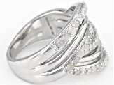 White Diamond Rhodium Over Sterling Silver Ring 0.75ctw