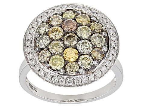 Multi-Color And White Diamond 14K White Gold Ring 2.00ctw
