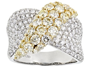 Natural Yellow And White Diamond 14K White Gold Ring 3.05ctw