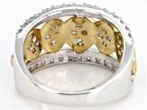 White Diamond Rhodium And 14K Yellow Gold Over Sterling Silver With Ring 1.00ctw