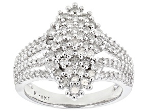 White Diamond 10K White Gold Ring 1.10ctw