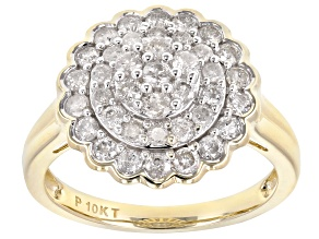 White Diamond 10K Yellow Gold Ring 0.95ctw