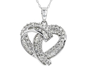 White Diamond 10k White Gold Pendant 0.70ctw