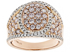 White Diamond 14K Rose Gold Ring 1.61ctw