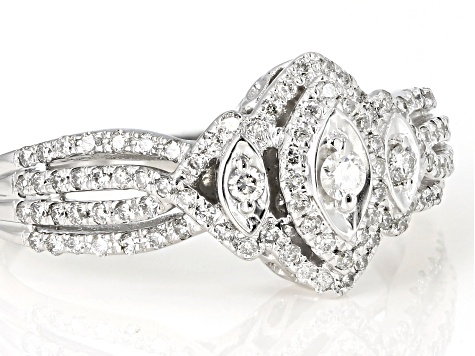 White Diamond 10K White Gold Ring 0.50ctw