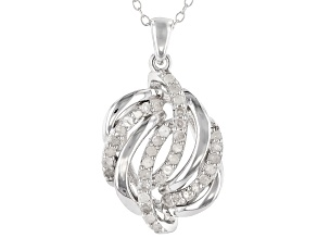 White Diamond Rhodium Over Sterling Silver Pendant 0.50ctw