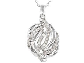 White Diamond Rhodium Over Sterling Silver Pendant 0.50ctw