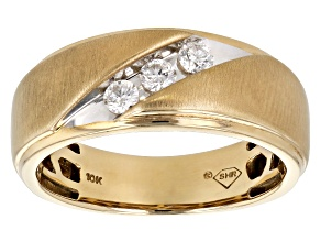 White Diamond 10k Yellow Gold Mens Ring 0.31ctw