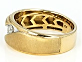 White Diamond 10k Yellow Gold Gents Ring 0.31ctw