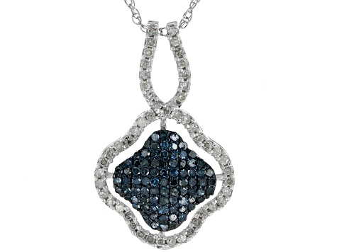 Blue And White Diamond Rhodium Over Sterling Silver Pendant 0.86ctw