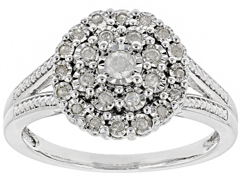 Picture of White Diamond Rhodium Over Sterling Silver Ring 0.25ctw