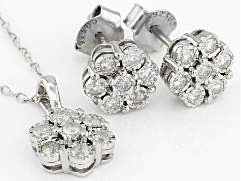 White Diamond Rhodium Over Sterling Silver Jewelry Set 0.50ctw