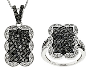 Black And White Diamond Rhodium Over Sterling Silver Jewelry Set 1.00ctw