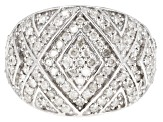 White Diamond Rhodium Over Sterling Silver Ring 1.10ctw