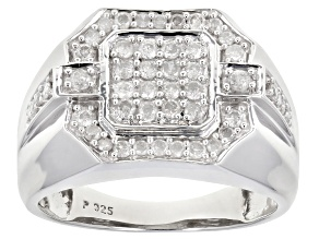 White Diamond Rhodium Over Sterling Silver Mens Ring 0.70ctw