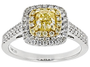 Natural Yellow And White Diamond 14k White Gold Ring 1.08ctw