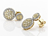 Natural Yellow And White Diamond 14k Yellow Gold Earrings 1.16ctw