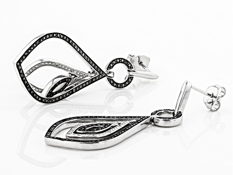 Black And White Diamond Rhodium Over Sterling Silver Earrings 0.25ctw