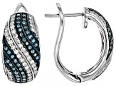 Blue And White Diamond Rhodium Over Sterling Silver Earrings 0.75ctw