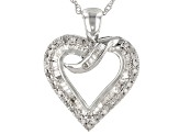White Diamond Rhodium Over Sterling Silver Pendant 0.56ctw