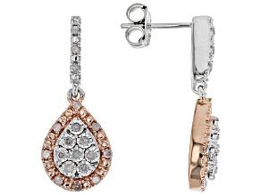 White Diamond Rhodium & 10K Rose Gold Over Sterling Silver Earrings 0.20ctw