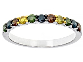Blue, Green, Yellow, & Red Diamond Rhodium Over Sterling Silver Ring 0.50ctw