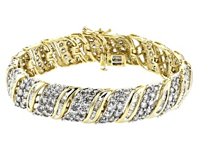 White Diamond 10K Yellow Gold Bracelet 10.00ctw