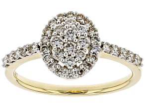 White Diamond 10K Yellow Gold Ring 0.60ctw