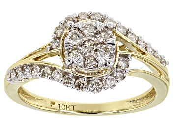 Picture of White Diamond 10K Yellow Gold Ring 0.60ctw