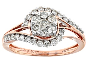 White Diamond 10K Rose Gold Ring 0.60ctw