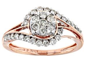 White Diamond 10K Rose Gold Ring 0.60ctw