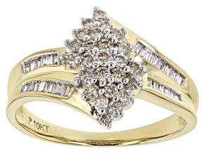 White Diamond 10K Yellow Gold Ring 0.50ctw