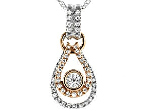 White Diamond 14K Two-Tone Gold Pendant With Chain 0.18ctw