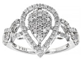 White Diamond Rhodium Over Sterling Silver Ring 0.80ctw