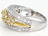 White Diamond Rhodium & 14K Yellow Gold Over Sterling Silver Ring 1.00ctw