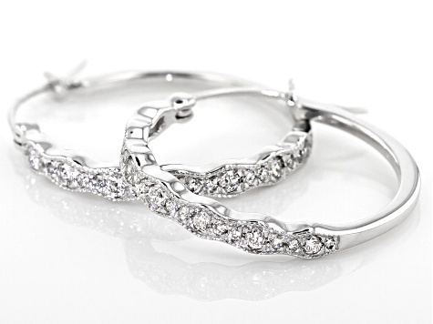 White Diamond 10K White Gold Earrings 0.48ctw