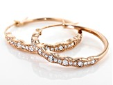 White Diamond 10K Rose Gold Earrings 0.48ctw