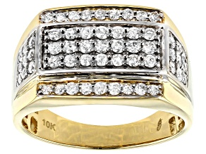 White Diamond 10K Two-Tone Gold Mens Ring 0.98ctw