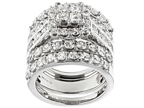 White Diamond 10K White Gold Ring With Bands 4.85ctw