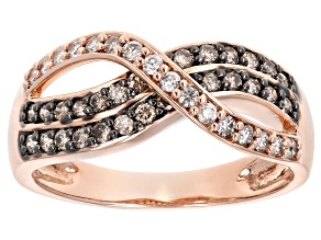 Champagne & White Diamond 10K Rose Gold Ring 0.50ctw