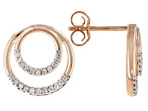 White Diamond 10K Rose Gold Earrings 0.16ctw
