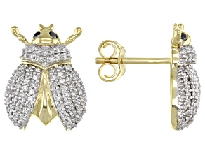White And Black Diamond 10K Yellow Gold Beetle Earrings 0.33ctw
