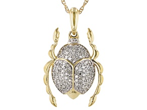 White Diamond 10K Yellow Gold Pendant 0.16ctw