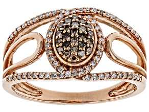 Champagne & White Diamond 10K Rose Gold Ring 0.25ctw