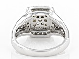 White Diamond Rhodium Over Sterling Silver Ring 0.72ctw