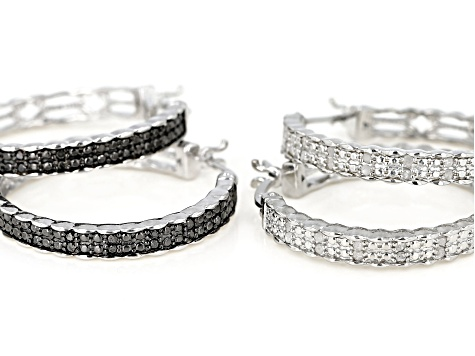 White and Black Diamond Rhodium Over Brass Hoop Earrings Set 0.50ctw